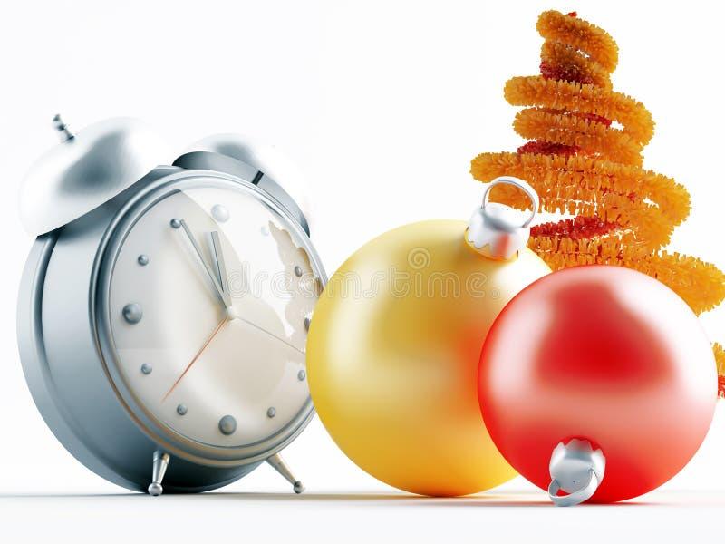 Weihnachtsdekorationen und -borduhr lizenzfreie abbildung
