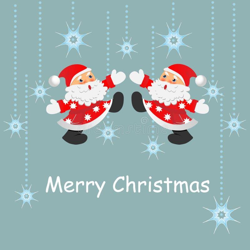 Weihnachtsdekorationen und Sankt-Karte. s lizenzfreie abbildung