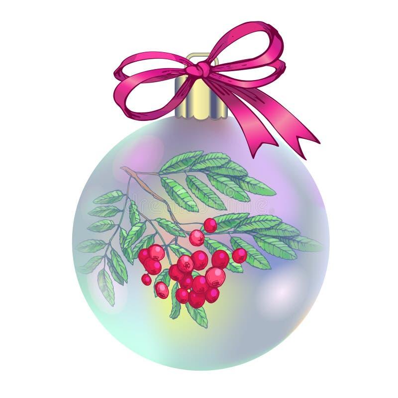 Weihnachtsdekorationen, Vektorillustration Roter Weihnachtsball mit Reihenniederlassung, -beeren und -blättern Tannenbaumast Absc lizenzfreie abbildung