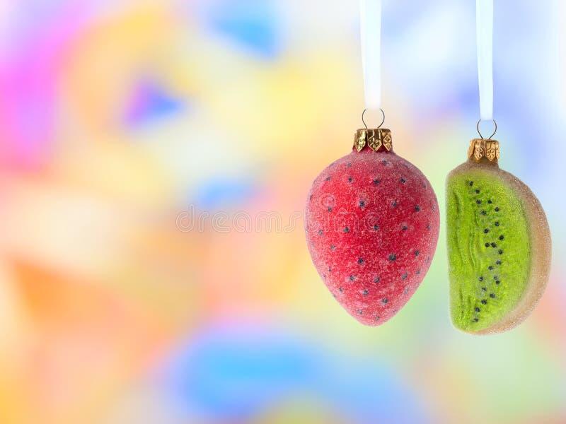 Weihnachtsdekorationfrüchte stockbild