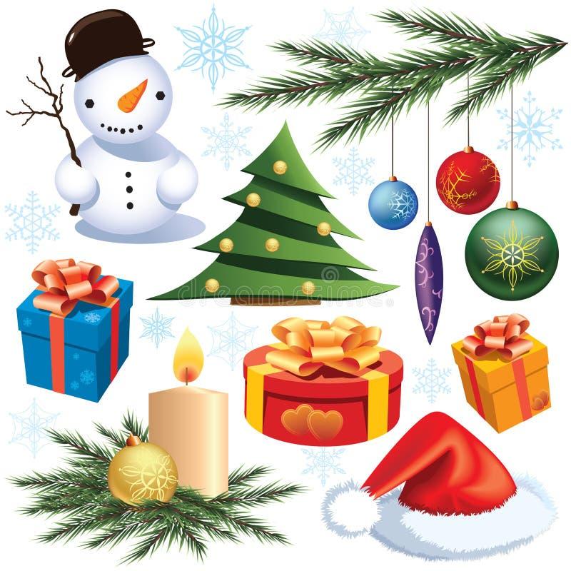 Weihnachtsdekorationset lizenzfreie abbildung