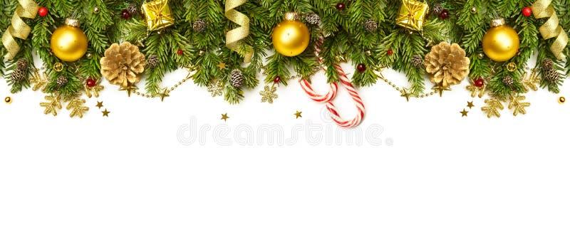 Weihnachtsdekorationsgrenze lokalisiert auf weißem Hintergrund lizenzfreie stockfotografie
