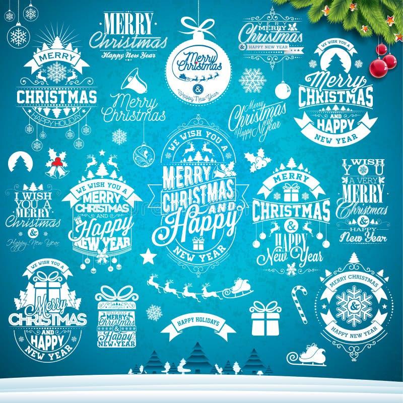 Weihnachtsdekorationssammlung kalligraphisches und typografisches Design mit Feiertagsaufklebern, -symbolen und -ikonen entwerfen vektor abbildung