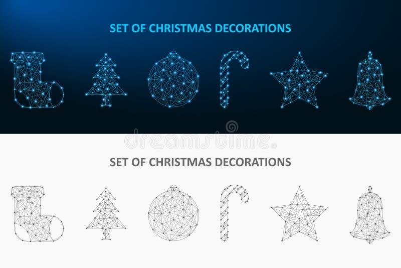 Weihnachtsdekorationssatz gemacht durch Punkt und Linie Niedriger Polyfeiertag verziert polygonale wireframe Masche Vektor stock abbildung