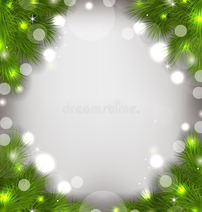 Weihnachtsdekorative Grenze von den Tannenzweigen, glühender Hintergrund lizenzfreie abbildung