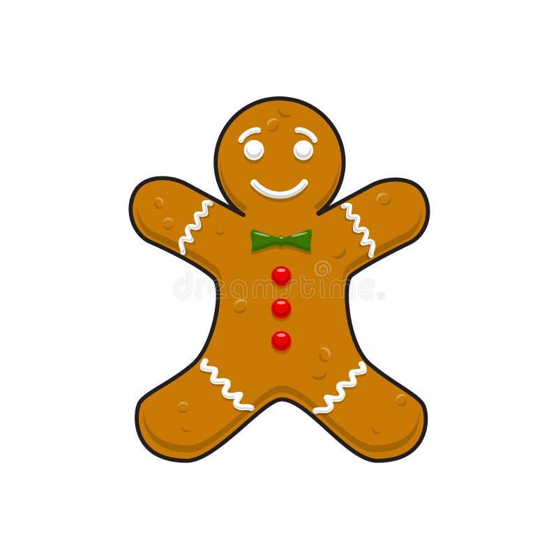 Weihnachtsdekoratives Lebkuchen cookieman vektor abbildung