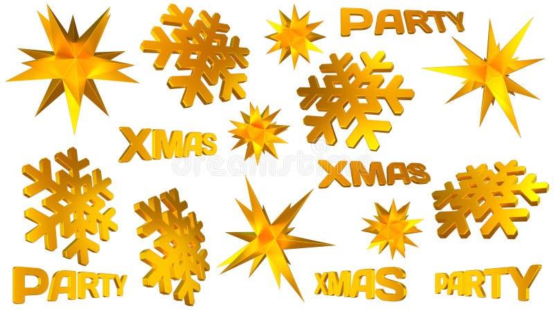Weihnachtsdekorsatz Goldener Stern, Schneeflocken, Weihnachtsparteiwort Abbildung 3D lizenzfreie abbildung
