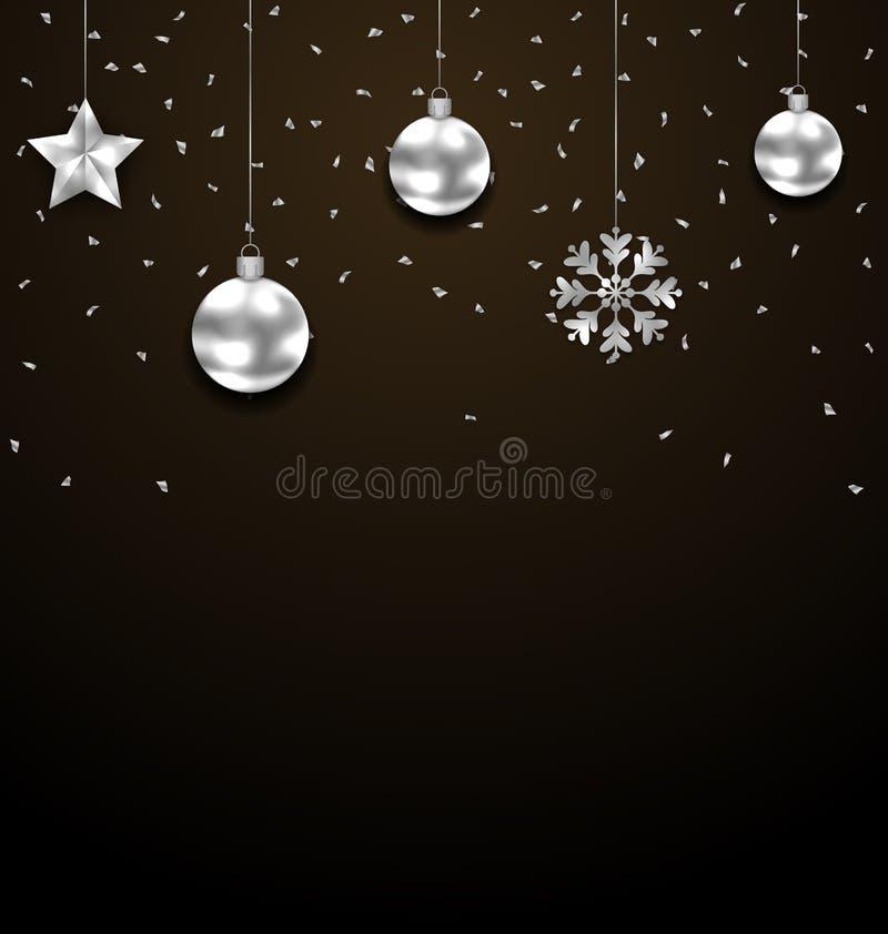 Weihnachtsdunkler Hintergrund mit dem silbernen Flitter, Luxusfahne grüßend lizenzfreie abbildung