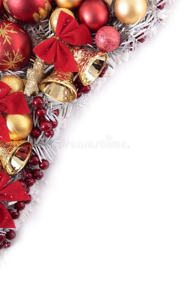 Weihnachtseckgrenzrahmen mit weißem Kopienraum lizenzfreie stockbilder
