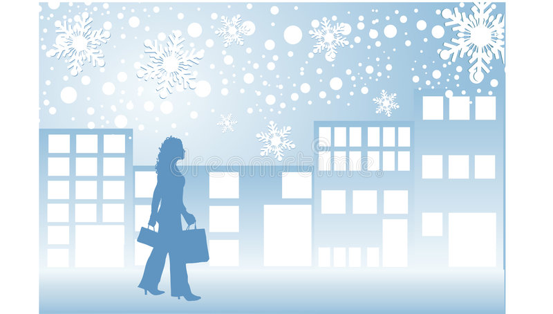 Weihnachtseinkaufen lizenzfreie abbildung