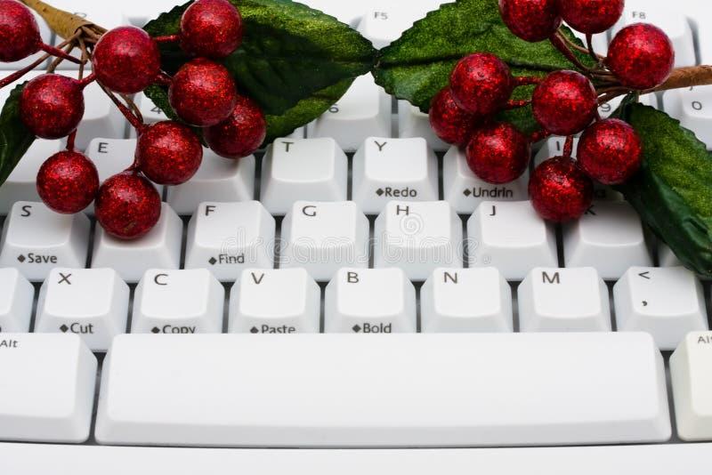 Weihnachtseinkaufen auf dem Internet stockbild