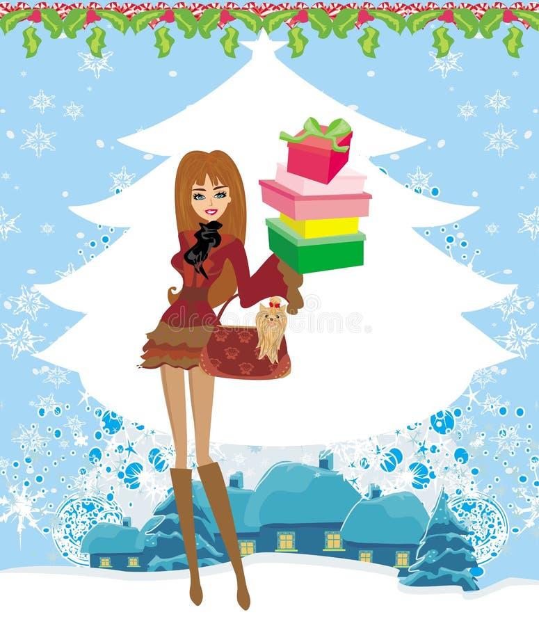 Weihnachtseinkaufen an einem schneebedeckten Tag stock abbildung