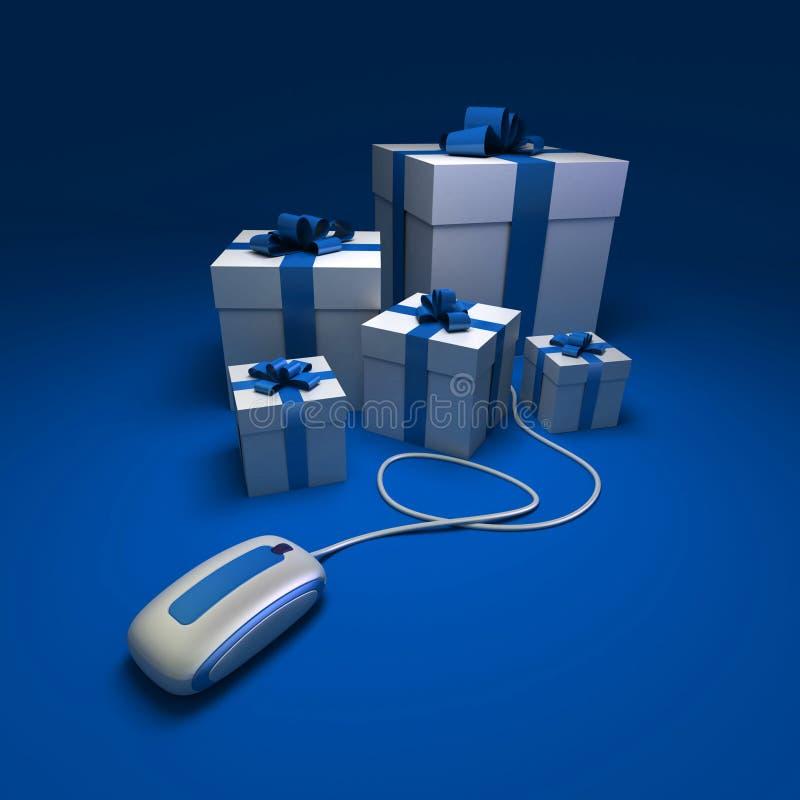 Weihnachtseinkaufen im Blau lizenzfreie abbildung