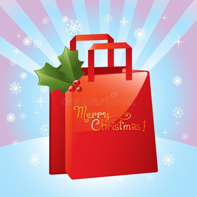 WeihnachtsEinkaufstasche stock abbildung