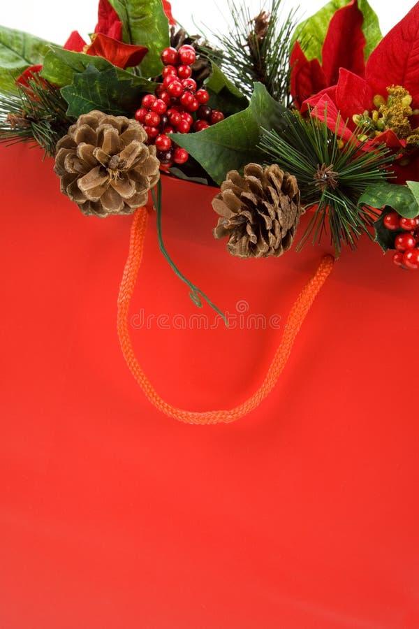 WeihnachtsEinkaufstasche lizenzfreies stockfoto