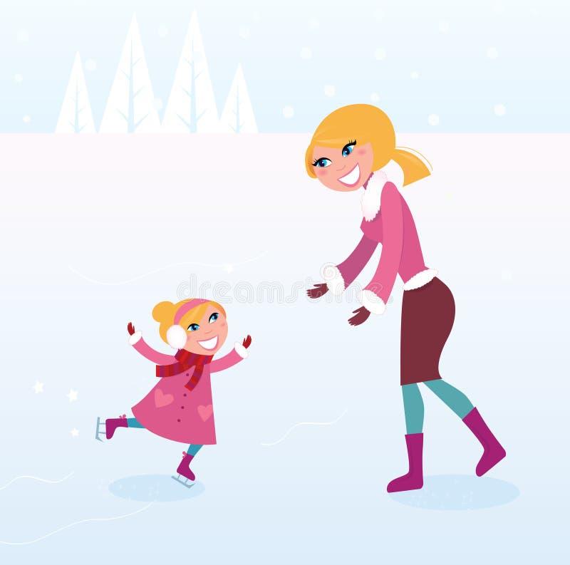 Weihnachtseiseislauf: Mutter und Tochter auf Eis stock abbildung