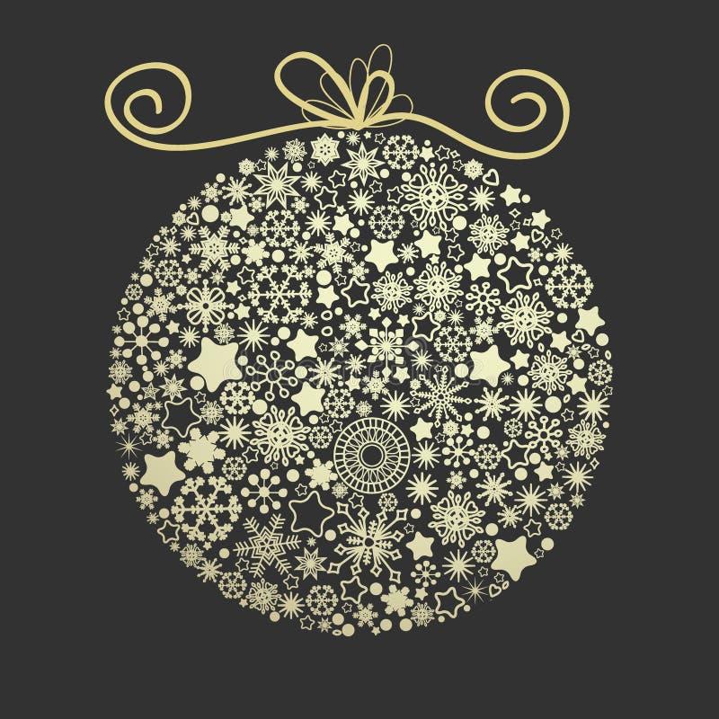 Weihnachtseleganter goldener Ball vektor abbildung