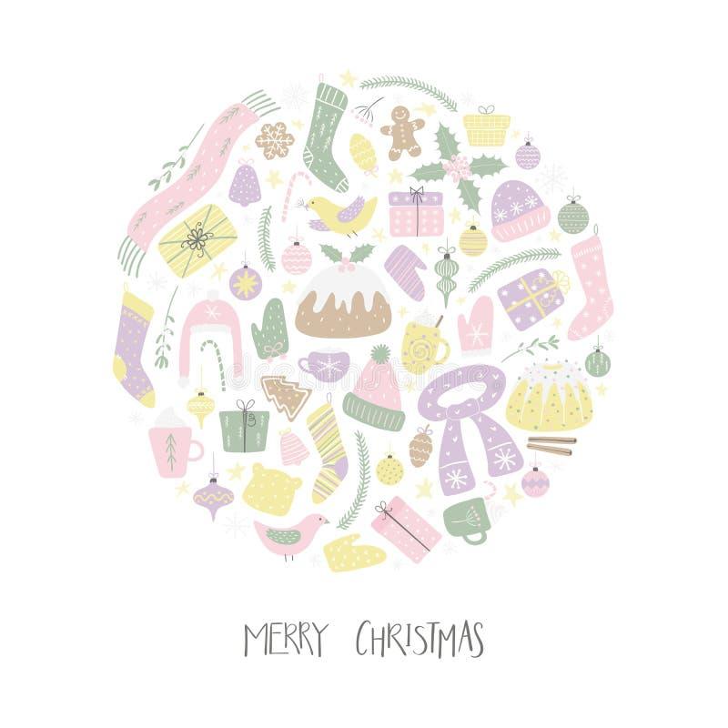 Weihnachtselemente in einem Kreisdesign stock abbildung