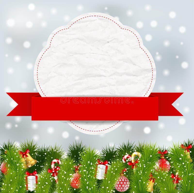 Weihnachtselemente mit Fahne stock abbildung