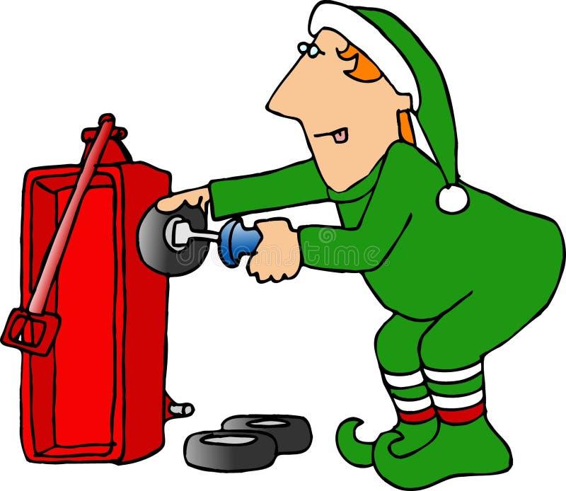 Download Weihnachtself, Der Einen Roten Lastwagen Zusammenbaut Stock Abbildung - Illustration: 38715