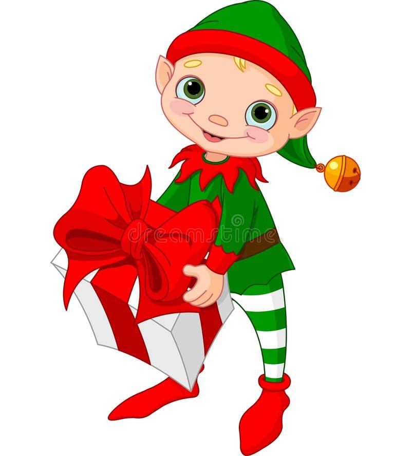 Weihnachtself mit Geschenk lizenzfreie abbildung