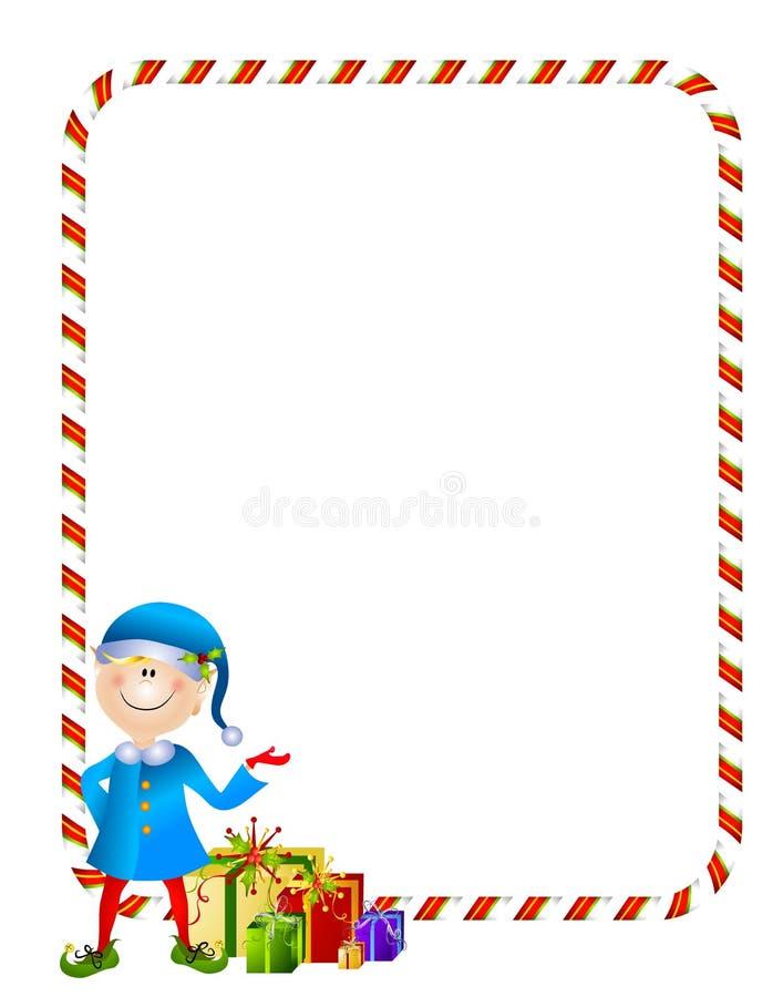Weihnachtself mit Geschenk-Rand stock abbildung