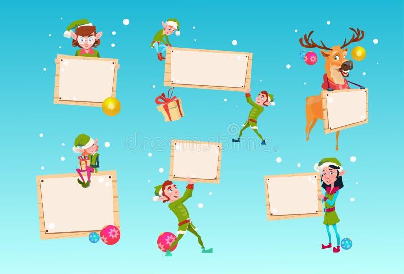 Weihnachtselfen-Gruppen-Ren-Zeichentrickfilm-Figur-Santa Helper Hold Empty Sign-Brett-Fahnen-Satz stock abbildung