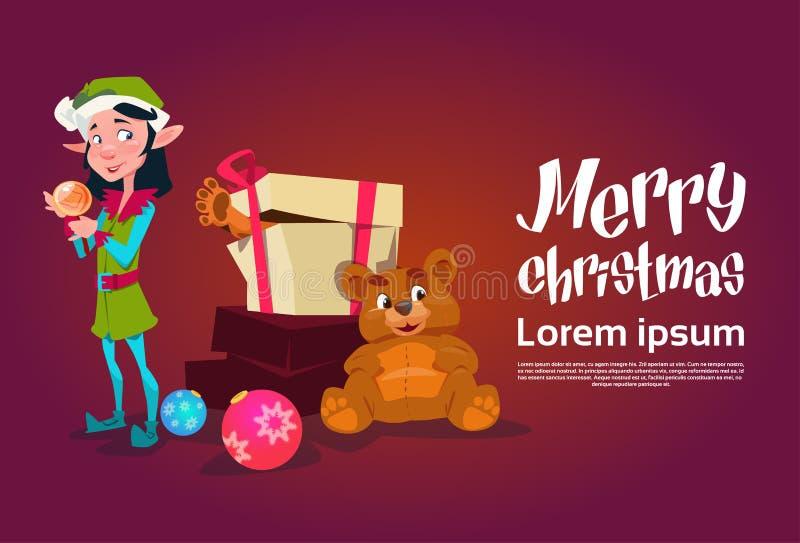 Weihnachtselfen-Mädchen-Zeichentrickfilm-Figur Santa Helper With Present Box lizenzfreie abbildung
