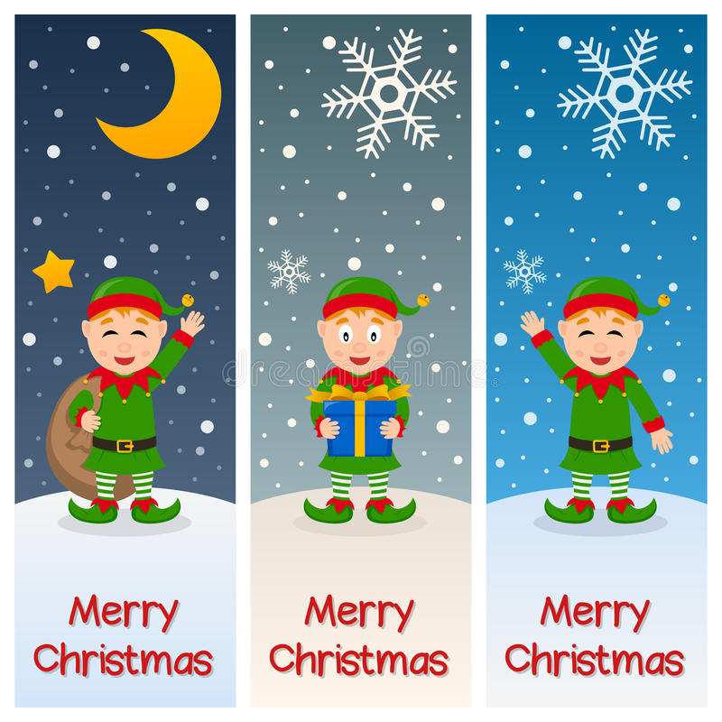Weihnachtselfen-Vertikalen-Fahnen lizenzfreie abbildung