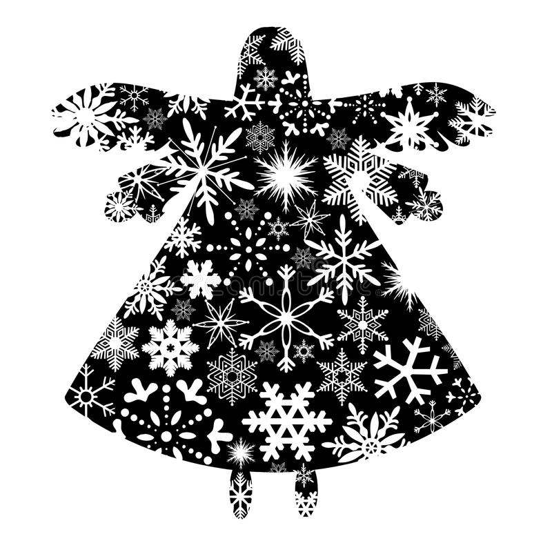 Weihnachtsengels-Schattenbild mit Schneeflocke-Auslegung vektor abbildung