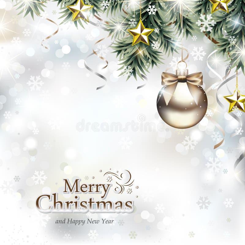 Weihnachtsentwurf mit Weihnachtsverzierungen stock abbildung
