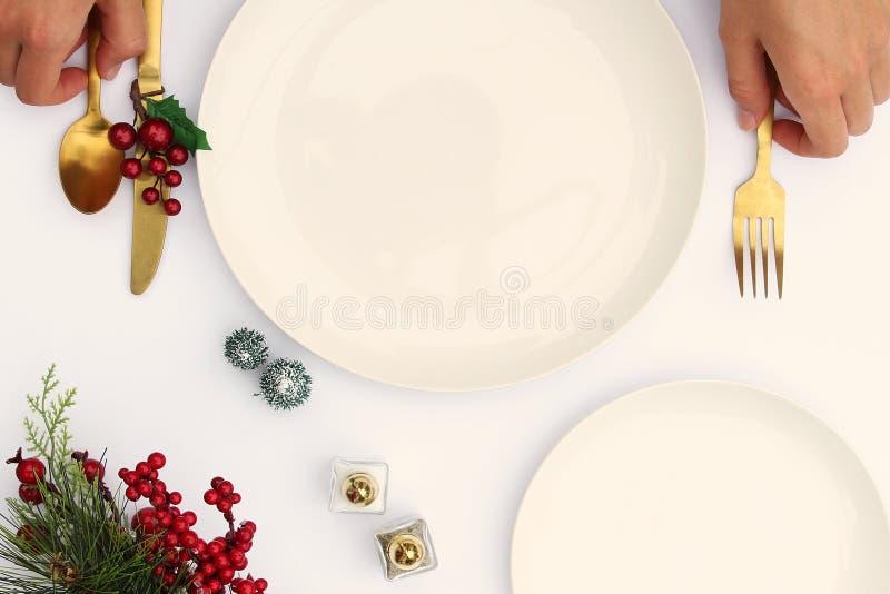 Weihnachtsessenparteivorbereitung lizenzfreie stockbilder