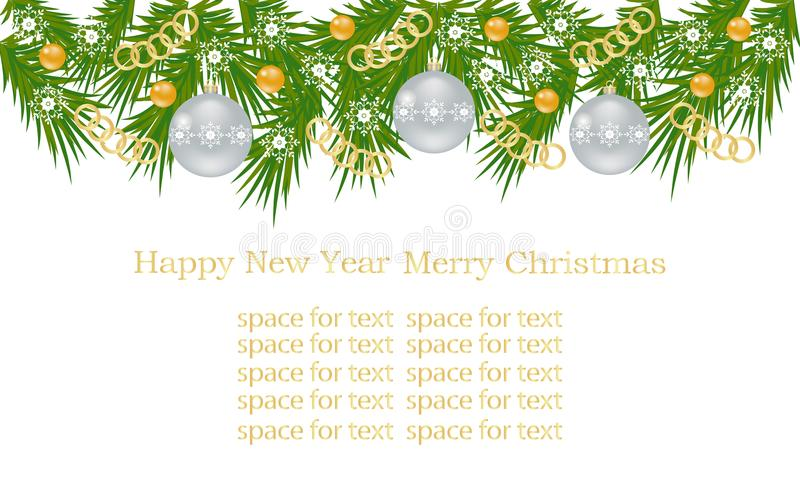 Weihnachtsfahne, Karte mit Weihnachtsbaumasten, Weihnachtsbällen, Goldketten und Verzierungen, weiße Schneeflocken lizenzfreies stockbild