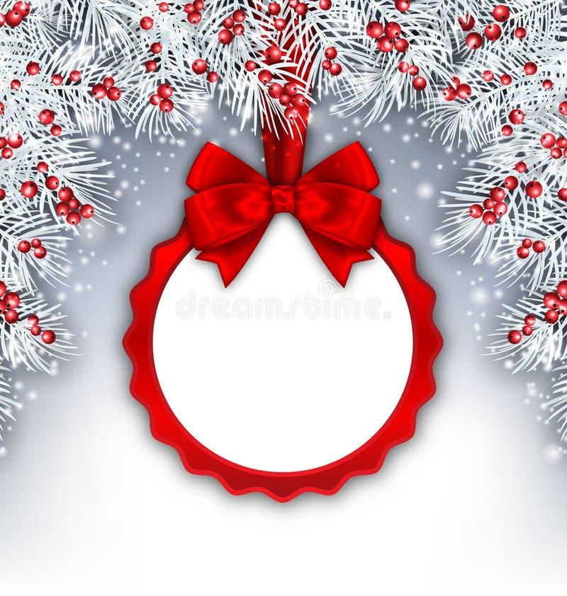 Weihnachtsfahne mit den Silbertannen-Zweigen und Karte lizenzfreie abbildung
