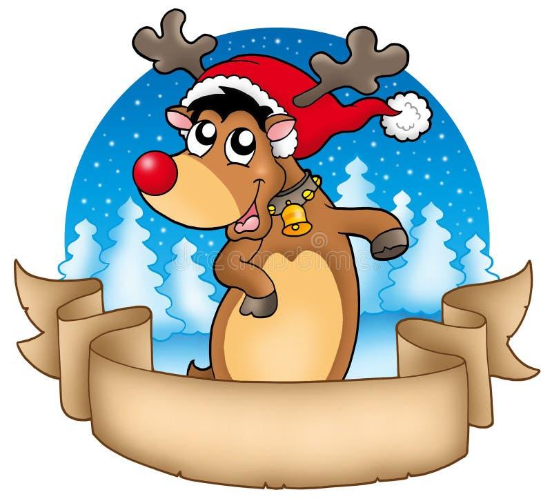 Weihnachtsfahne Mit Nettem Ren Stockfotos