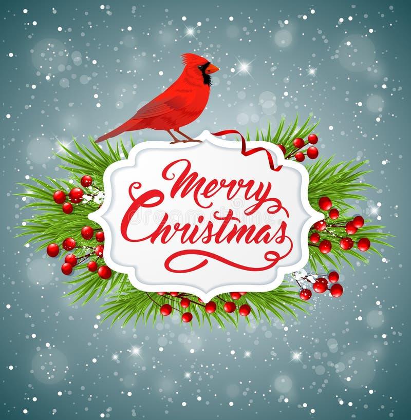 Weihnachtsfahne mit rotem hauptsächlichem Vogel lizenzfreie abbildung