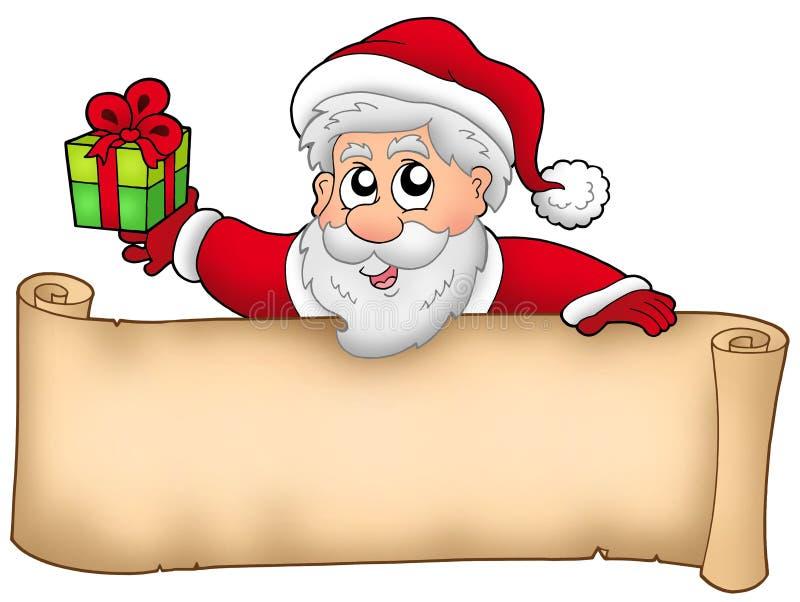 Weihnachtsfahne mit Sankt und Geschenk vektor abbildung