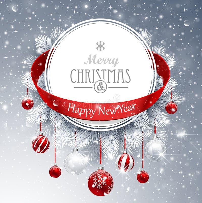 Weihnachtsfahne mit Tannenzweigen stock abbildung
