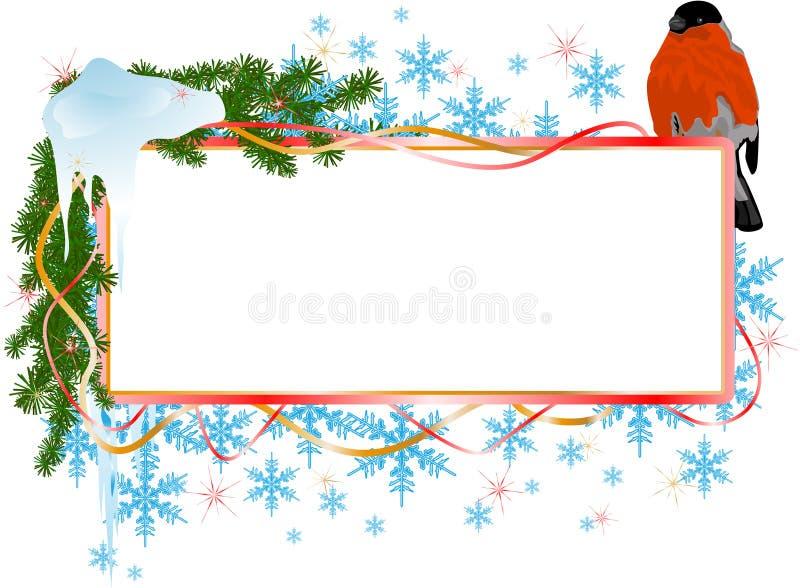 Weihnachtsfahne mit Vogel lizenzfreie abbildung