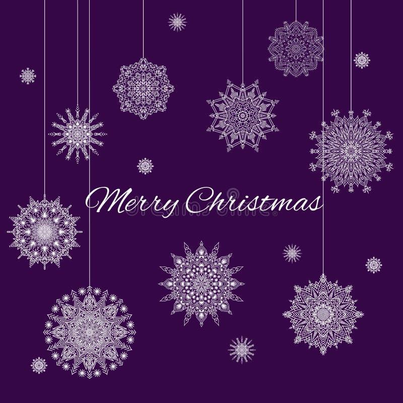 Weihnachtsfahne mit weißen Schneeflocken auf purpurrotem Hintergrund stockfotos