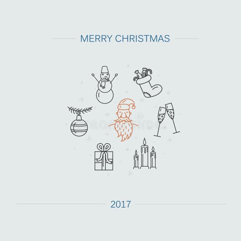 Weihnachtsfahne oder -flieger mit verschiedenen Wintersymbolen einschließlich Santa Claus, Schneemann, Weihnachtsball und Geschen lizenzfreie abbildung