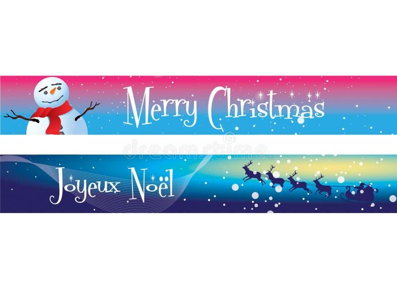 Weihnachtsfahnen auf Blau und Rosa lizenzfreie abbildung