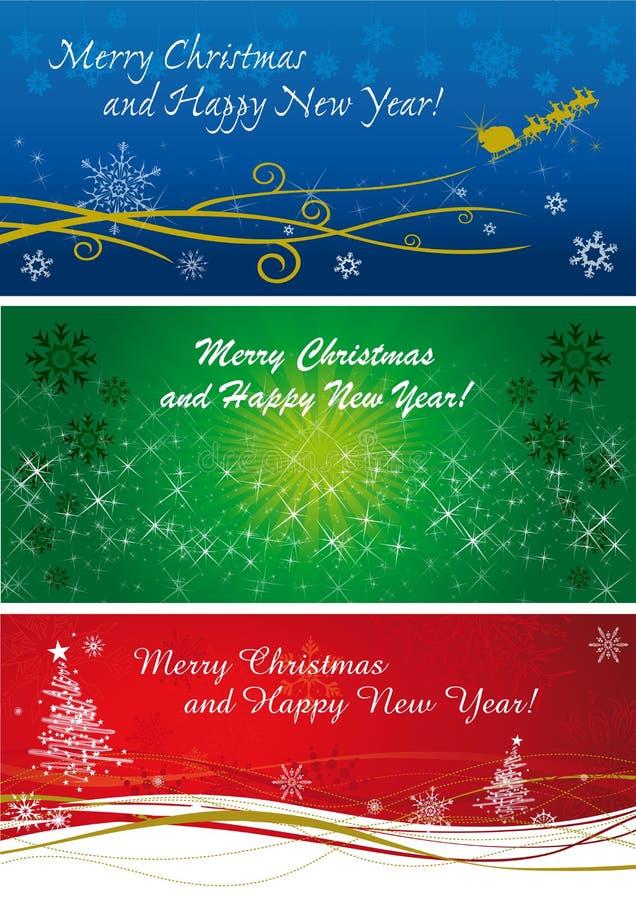 Weihnachtsfahnen in drei Farben und in Art vektor abbildung