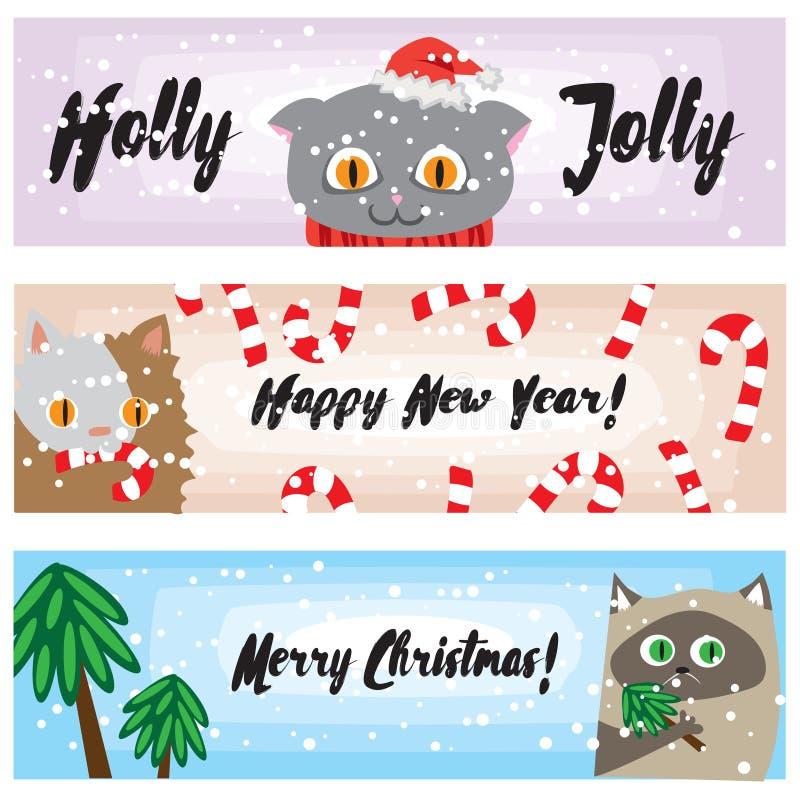 Weihnachtsfahnen mit lustigen Katzen Nette Kätzchen Hintergrundsammlung neuer Jahre Karikaturfeiertagsschablone für Ihr Design lizenzfreie abbildung