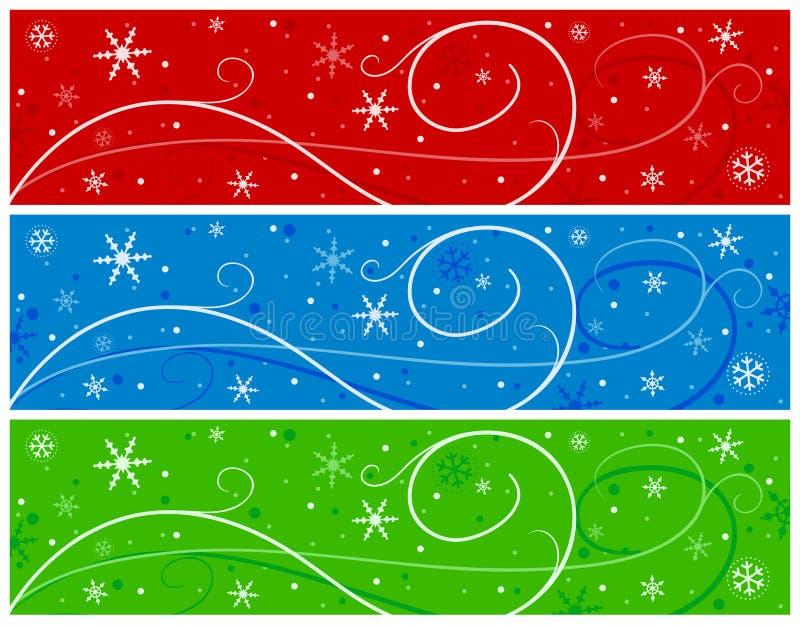 Weihnachtsfahnen mit Schneeflocken vektor abbildung
