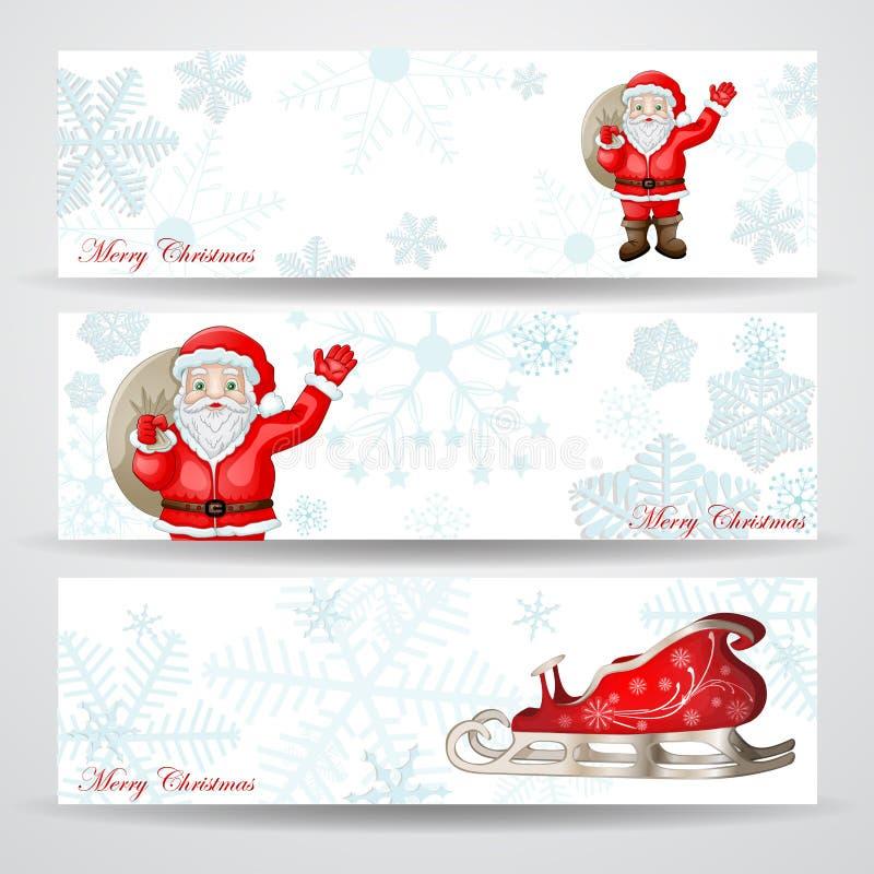 Weihnachtsfahnen mit Weihnachtsmann lizenzfreie abbildung