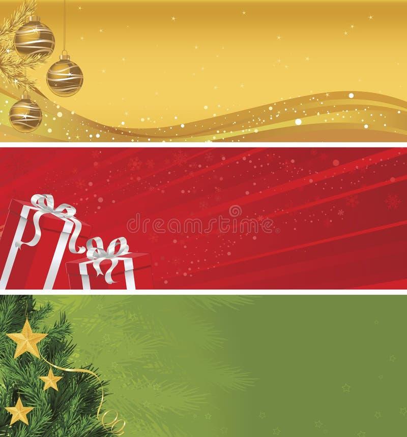 Weihnachtsfahnen-Set von drei stock abbildung