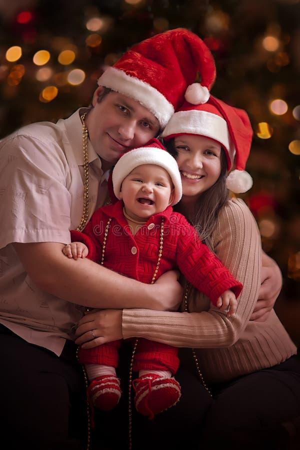 Weihnachtsfamilienporträt stockfotografie