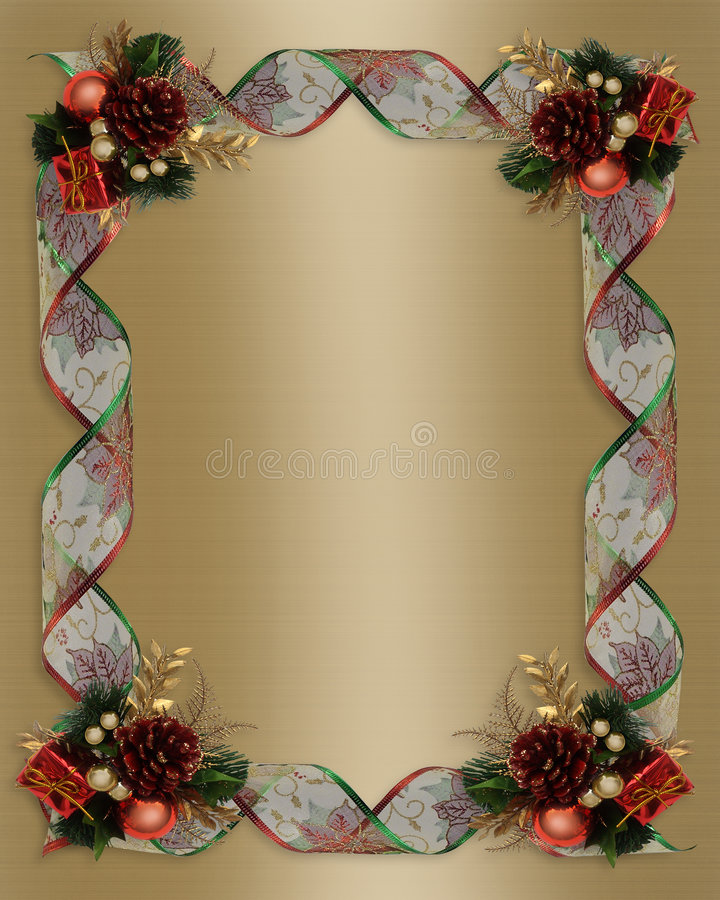 Weihnachtsfarbbänder gestalten Goldsatin lizenzfreie abbildung