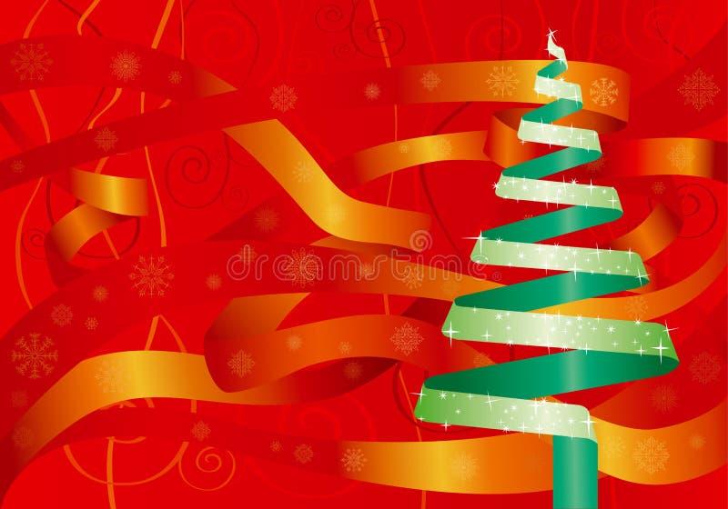 Weihnachtsfarbbandbaum stock abbildung